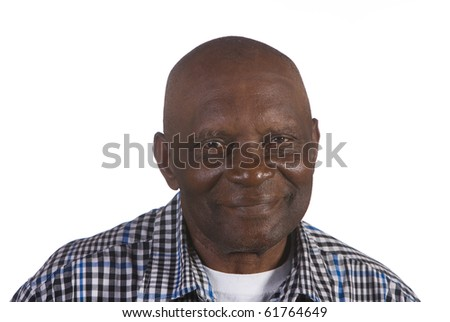 Happy old African American man. Shot against white background. - stock photo