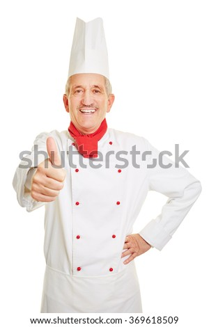 Happy old chef cook holding his thumbs up