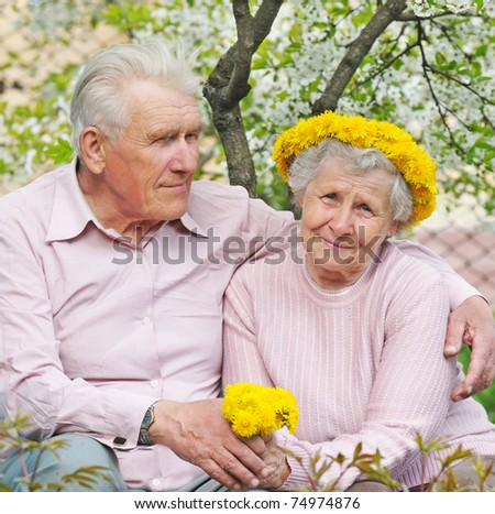 happy old couple against a background of flowering garden with dandelions - stock photo