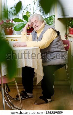 Happy old gray-haired woman sitting in the kitchen - stock photo