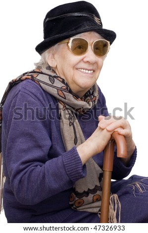 Happy old lady isolated on white background - stock photo