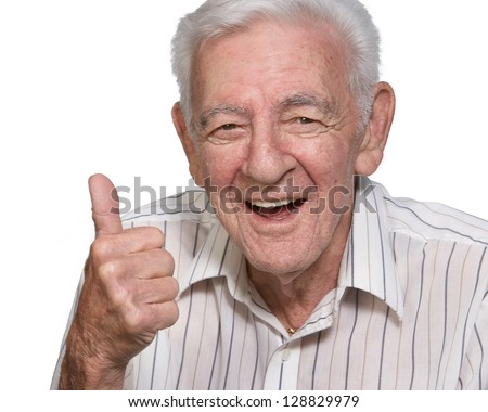 Happy old man senior thumbs up isolated on white background - stock photo