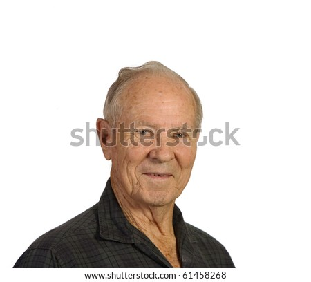 Happy old man smiling in closeup. Shot against white background. - stock photo