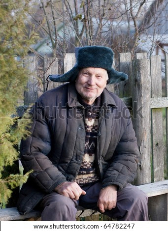 happy old russian men - stock photo