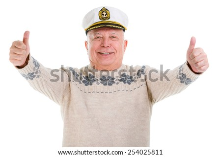 Happy old Senior man showing thumbs up standing on white background isolated - stock photo