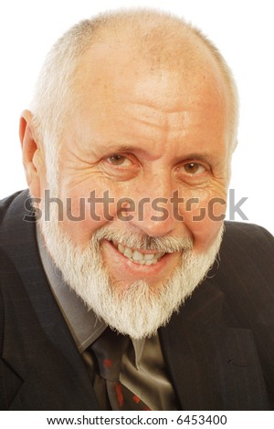 Happy older businessman portrait; isolated on white