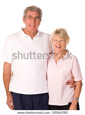Happy older couple relaxing after gym workout - stock photo