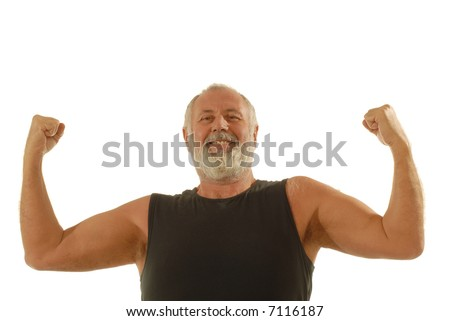 Happy older man flexing during his fitness routine; isolated on white - stock photo