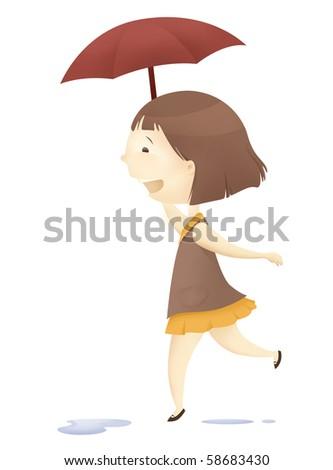 happy on a rainy day - stock photo
