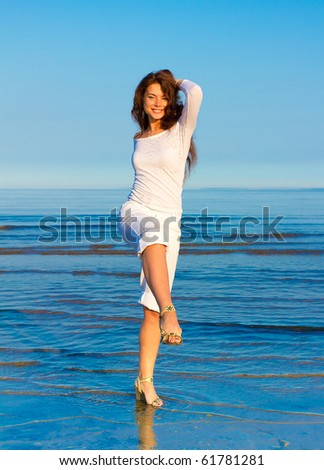 Happy on resort at last! - stock photo