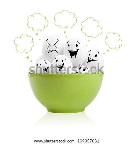 Happy painted eggs in a bowl, isolated on white - stock photo