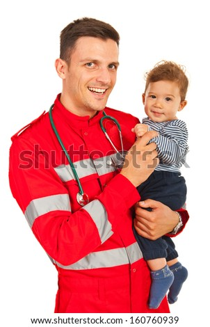 Happy paramedic man holding baby boy isolated  on white background