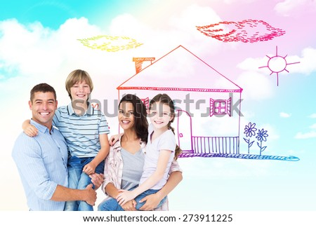 Happy parents carrying children over white background against blue sky