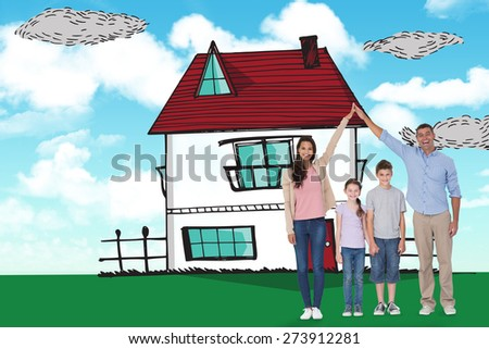 Happy parents joining hands above children against blue sky - stock photo
