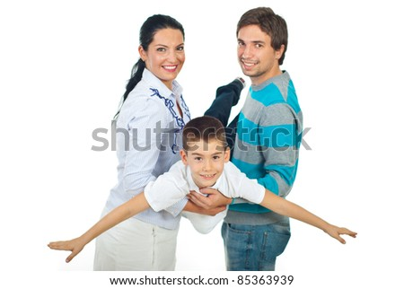 Happy parents playing aeroplane with their child boy isolated on white background