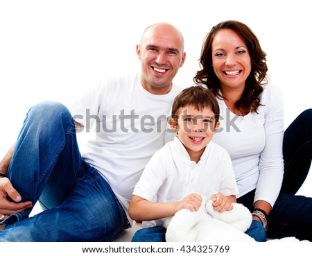 Happy parents with their son - stock photo