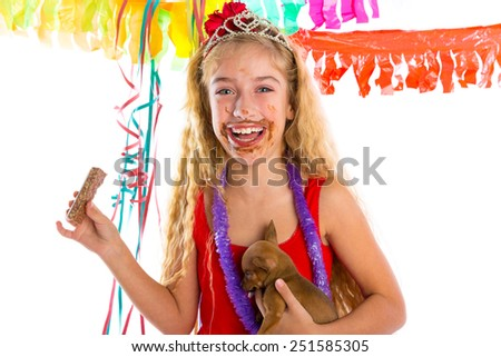happy party girl with puppy present eating chocolate in birthday dirty mouth - stock photo