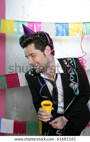 Happy party young man drinking enjoying alone laughing - stock photo