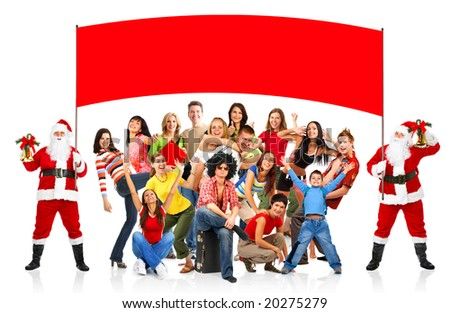 Happy People and Christmas Santa. Over white background - stock photo