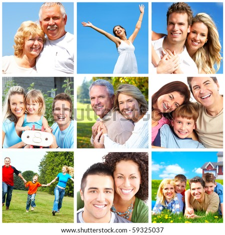 Happy people and families in the park - stock photo