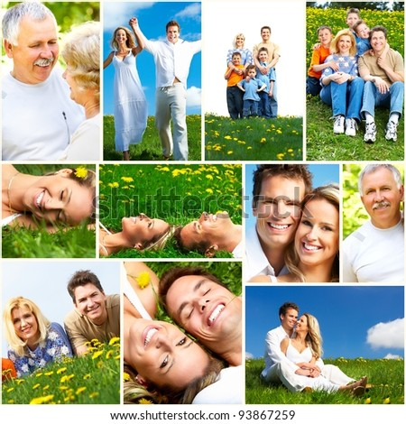 Happy people collage. Healthy lifestyle. - stock photo