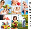 Happy people collage. Healthy lifestyle. Diet. - stock photo