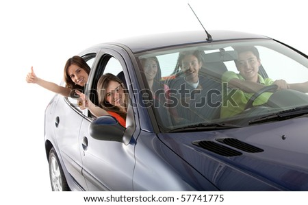 Happy people coming out from a car with thumbs up - isolated over a white background - stock photo