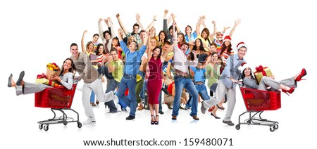 Happy people crowd. Christmas shopping sale background. - stock photo