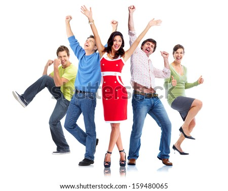 Happy people group dancing with hands up - stock photo