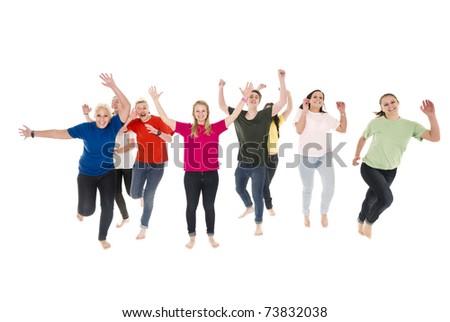 Happy people isolated on white background - stock photo