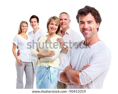 Happy people. Isolated over white background.