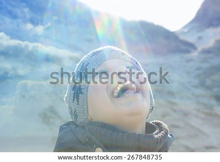 happy people outdoor  lens flare backlight double exposure stylized - stock photo