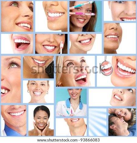 Happy people smile. Dental collage. - stock photo