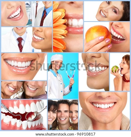 Happy people smile. Dental collage.