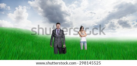 Happy people take rest on beauty field - stock photo