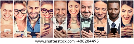 Happy people using mobile smart phone