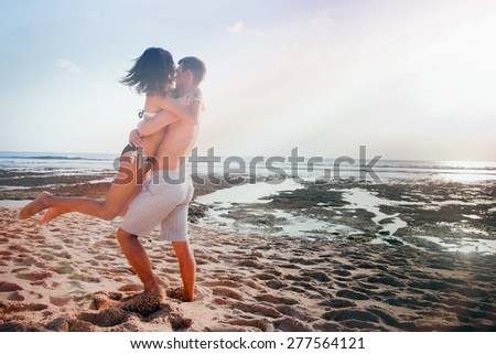 happy person outdoor near the beach - stock photo