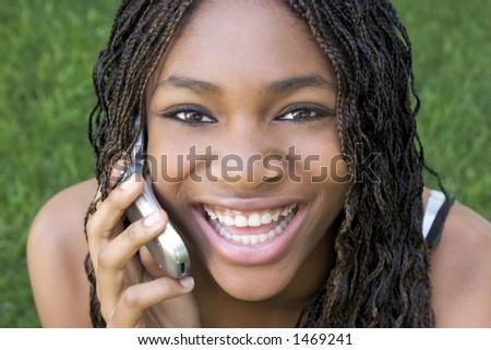 Happy Phone Girl - stock photo