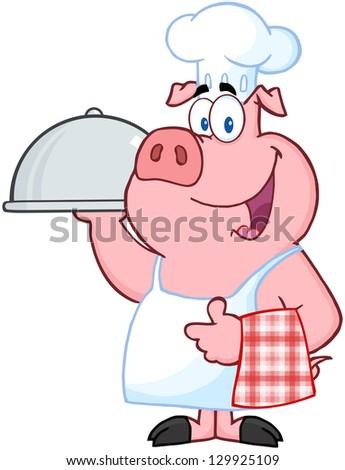 Happy Pig Chef Holding A Platter. Raster Illustration. - stock photo