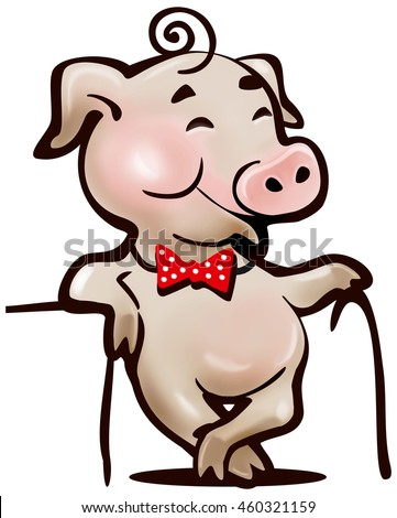 happy pig with a cane, a simple cartoon