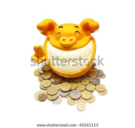 Happy piggy bank - stock photo