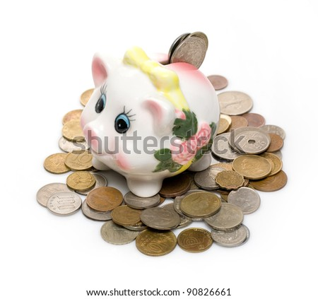 happy piggy bank on a light background