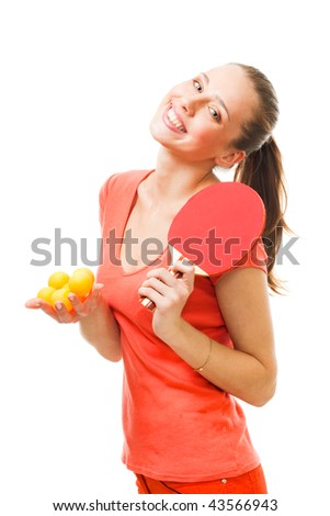 Happy Ping-pong woman player with big smile hold balls and racket