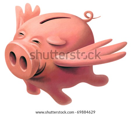 Happy pink Pig with wings flying in the sky and smiling from happiness and satisfaction - stock photo