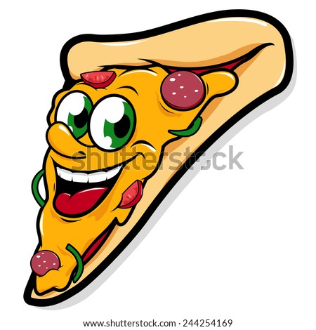 Happy pizza slice cartoon. Illustration of  a happy & delicious pizza slice cartoon smiling. Vector version also available in my gallery. - stock photo