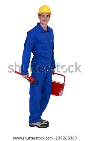 Happy plumber - stock photo