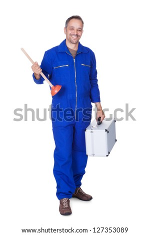 Happy Plumber Holding Plunger On White Background - stock photo