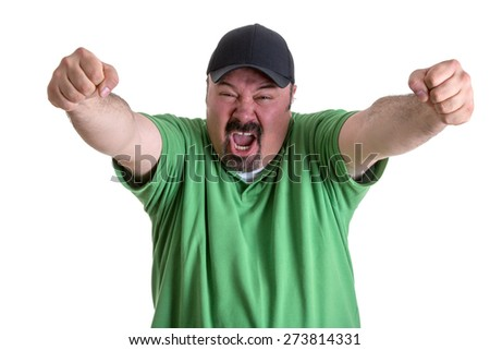 Happy Portrait of a Bearded Adult Man, in Casual Green Shirt with Cap, Screaming Out While Raising his Arms After his Team Wins. Isolated on White - stock photo