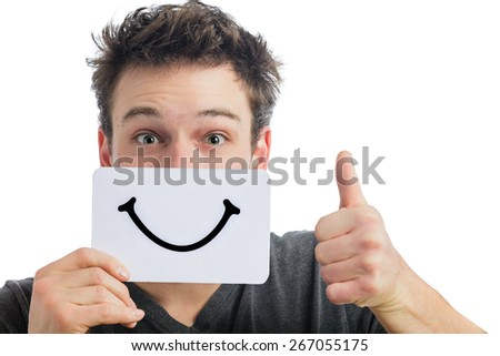 Happy Portrait of a Man Holding a Smiling Mood Board Isolated on White Background - stock photo