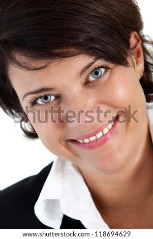 Happy portrait of beautiful smiling woman's face - stock photo